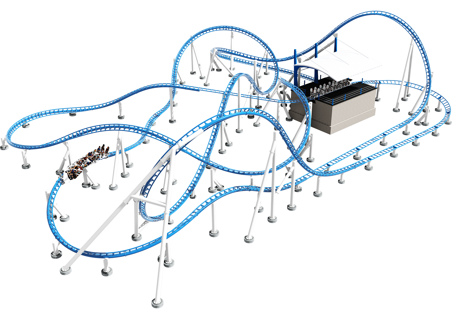 Intamin Sample Layout LSM Double Launch Roller Coaster