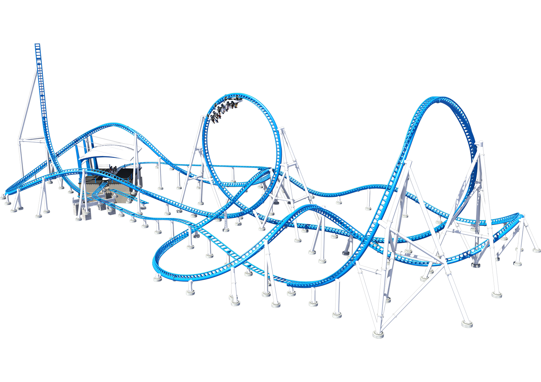 Intamin Sample Layout LSM Triple Launch Roller Coaster