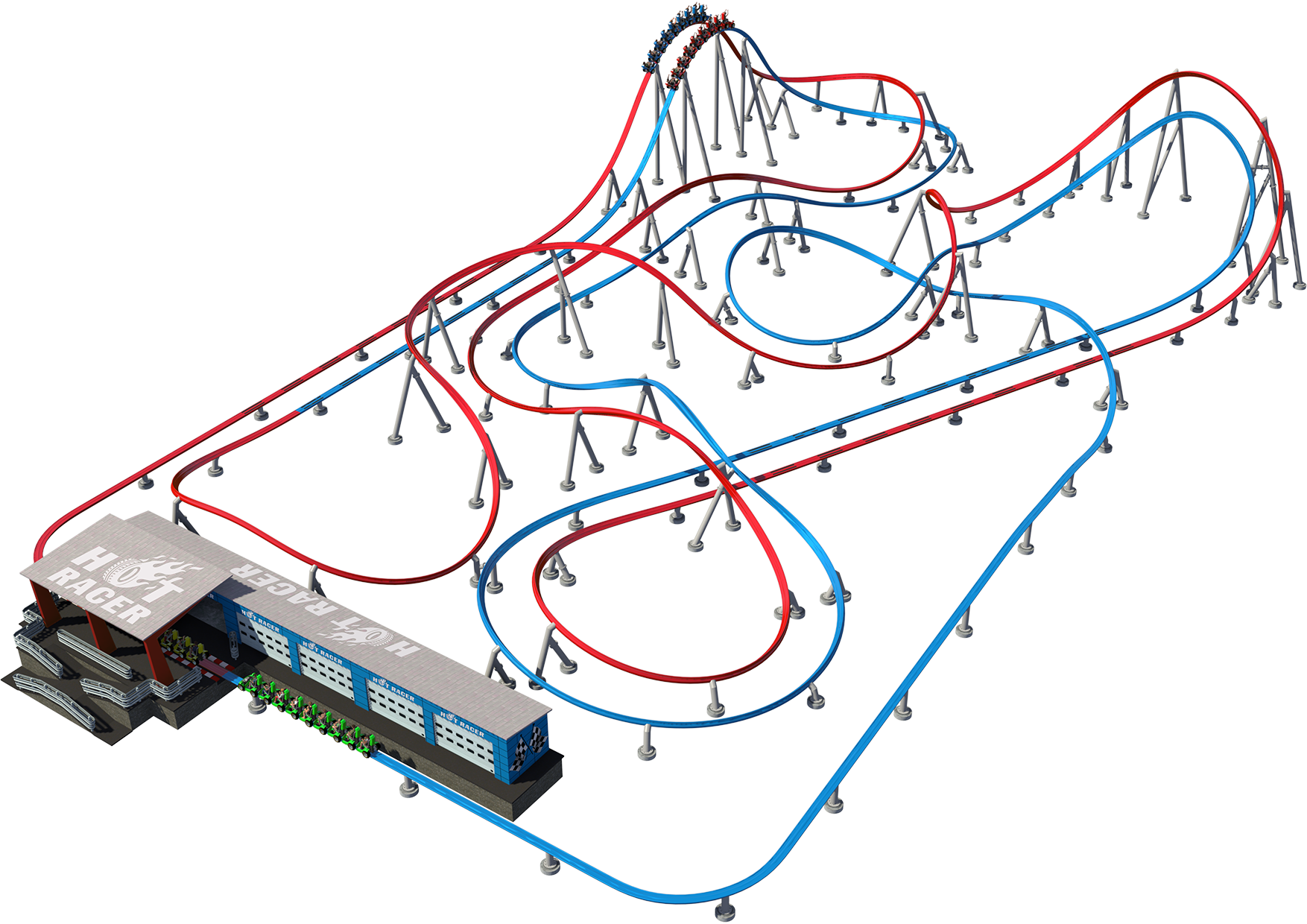 Intamin Sample Layout Hot Racer Autodrome Roller Coaster