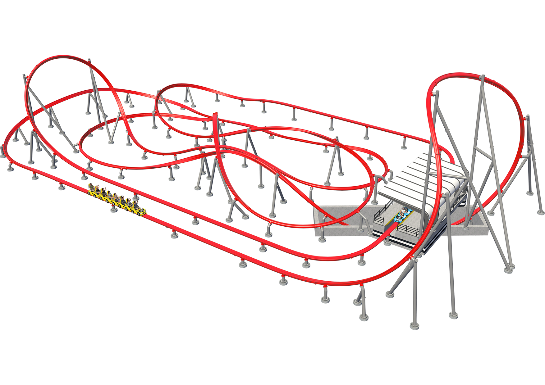 Intamin Sample Layout Hot Racer Overdrive Roller Coaster
